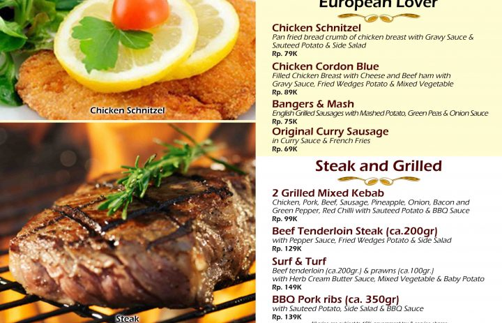 22) Eroupean favorites & steak and grilled