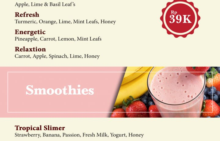 1) healthy juice & smoothies