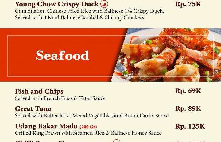 20) special menu & seafood