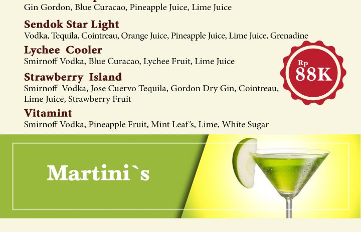 5) signature cocktail & martini