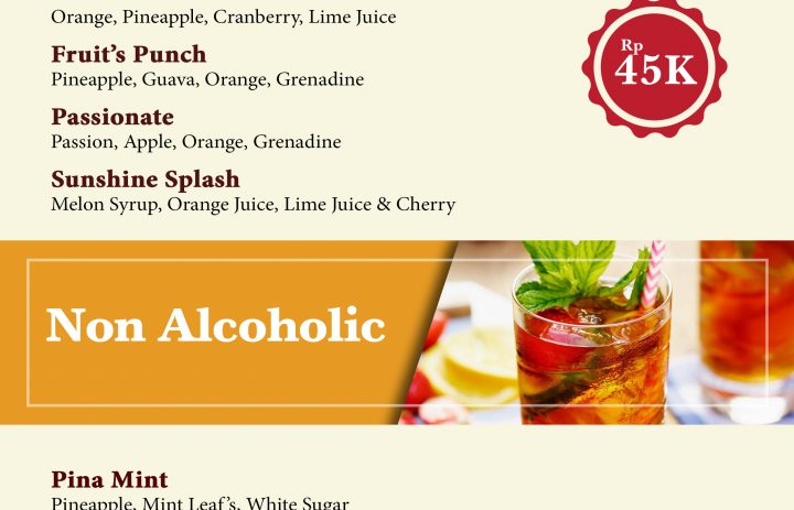 2) mocktail & non alcoholic