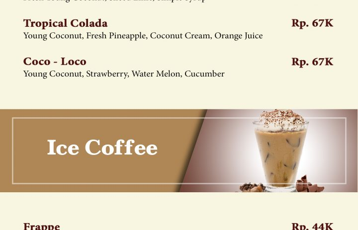 4) young coconut & ice coffee